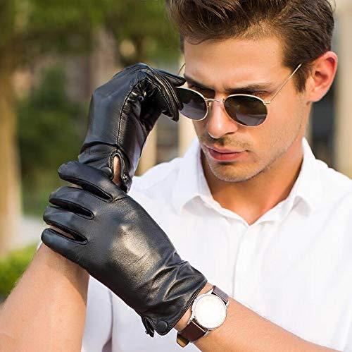 Agelec Lederhandschuhe Männer Fahren Dünnschliff Winter Verdickung Kalt Warme Handschuhe Touchscreen Schaffell Reiten Winddicht Motorrad Handschuh (Color : Black Silk Lining, Größe : XL)