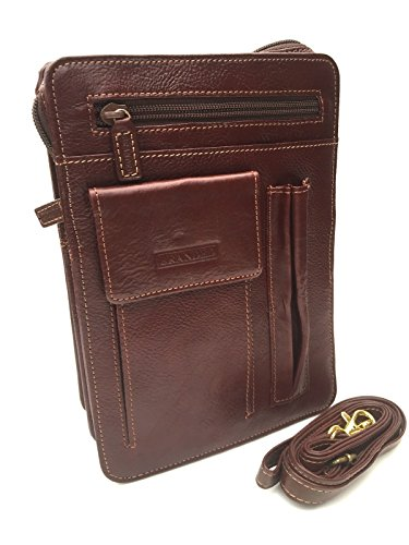 Golunski sr923Unisex Leder Travel Cross-Body-Tasche schwarz Hellbraun