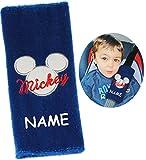 Unbekannt Gurtschoner / Gurtpolster -  Disney Mickey Mouse  - incl. Name - Gurtschutz - für Sicherheitsgurt als Gurt Polster - für Auto / Kindersitz - Schoner Autosit..