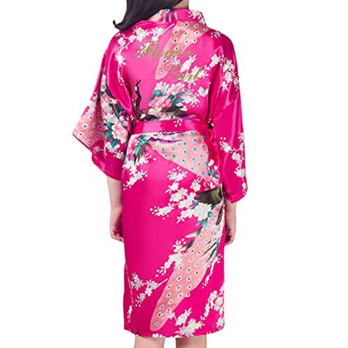Kunfang Kids Robe Satin Kimono Batas de Baño Vestido de Niña de Flores Albornoz de Seda para Niños...