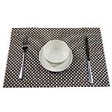 Butterme Waschbar Woven Vinyl Untersetzer Tischunterlage Tischset Platzdecken Platzset Platzmatten Tischmatten 4er Set(Größe: 17.7x 11,8 Zoll)