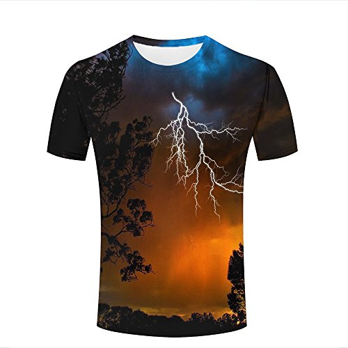 qianyishop Mens Casual Design 3D Printed Lightning/Twilight/Big Tree Graphic Short Sleeve Couple T-Shirts Top Tee M (Butterfly Peeling Top)