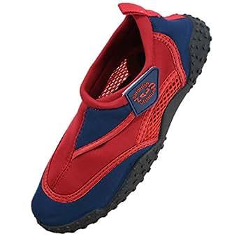 Nalu Velcro Aqua Surf / Beach / Wetsuit Shoes (Kids UK 1 / EU 33, Red with Navy Trim)