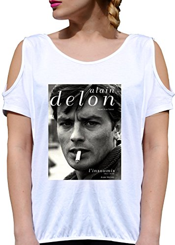 T SHIRT JODE GIRL GGG27 Z2870 ALAIN DELON MAGAZINE AMERICA BLACK&WHITE VINTAGE FUN FASHION BIANCA - WHITE