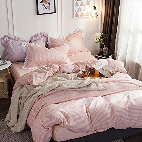 BB.er Baumwolle gestreift Plaid minimalistischen Bettwäsche 4-teilig Bettwäsche kissenbezüge Doppelbett Textil, rosa Streifen, 220 x 240 cm -