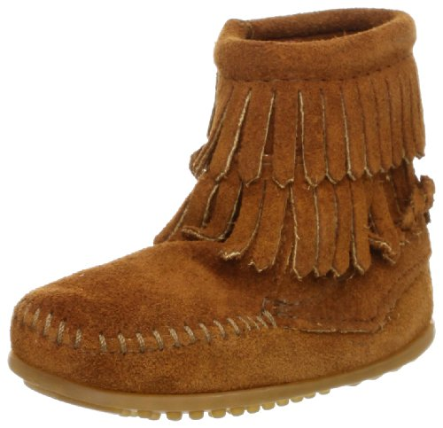 Minnetonka Mädchen Double Fringe Side Zip Boot Mokassin stiefel, Braun (Brown), 29.5 EU - Kinder Minnetonka Fringe Boot