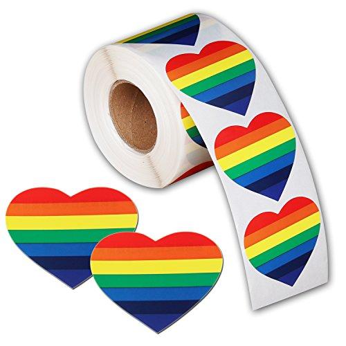 Love Rainbow Band Aufkleber, Gay Pride 7Farben Streifen Herzform Rolle Tape Heart regenbogenfarben - Parade Pole