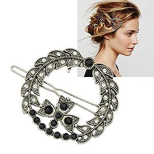 Feelontop® Vintage-Stil Silber Strass Blume Blatt Hairgrips Haar tragen Zubehör mit Schmuck Beutel