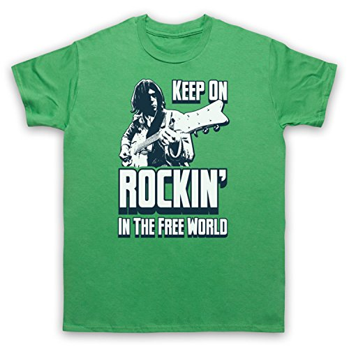 Inspired Apparel Inspired by Keep on Rockin' in The Free World Classic Folk Rock Neil Unofficial T-Shirt des Hommes, Vert, 2XL