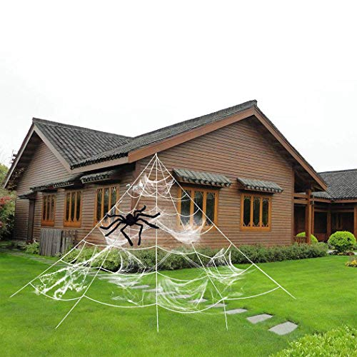 ZOYLINK Halloween Spinnennetz Spinngewebe Dekoration Set Halloween Party Gartendekoration (White)