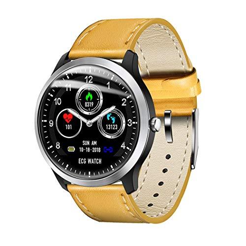 LXFMD Sportuhr EKG ECG Smart Bracelet Bericht Blutdruck-Herzfrequenz-Test (Farbe : Gelb)