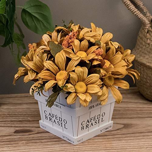 Jnseaol fiori artificiali plastica di seta pentola di legno per la decorazione del partito di giardino domestico i matrimoni, per regalo di festa della mamma crisantemo dorato