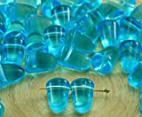 14 unidades de Cristal Azul Aguamarina Claro Cono de Gominola Pico Tacos de Goma Gota checa Perlas de Vidrio de 10 mm x 7 mm