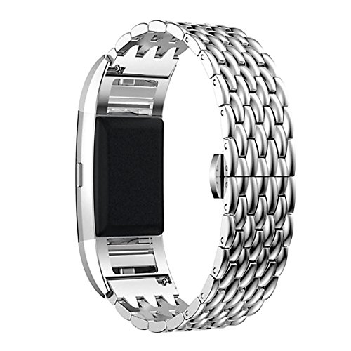 Fitbit Charge 2 Handgelenkband, Edelstahl Metall Ersatz Smart Uhrenarmband Armband mit doppeltem Knopf Faltschließe für Fitbit Charge 2 (Silber)