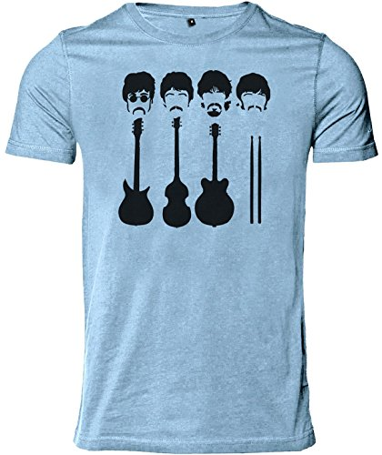 Stylotex Herren Slimfit T-Shirt Rockband, Größe:L;Farbe:sky (Beatles Bedruckte T-shirts)