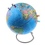 Dolity Magnetische Globus Weltkarte Weltkugel mit 30pcs Magnetpins Geographische Lernspielzeug - Blau