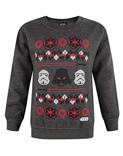 Official Star Wars Darth Vader Fair Isle Christmas Boy's Sweatshirt (7-8 Years) (Jungen-fair-isle-pullover)