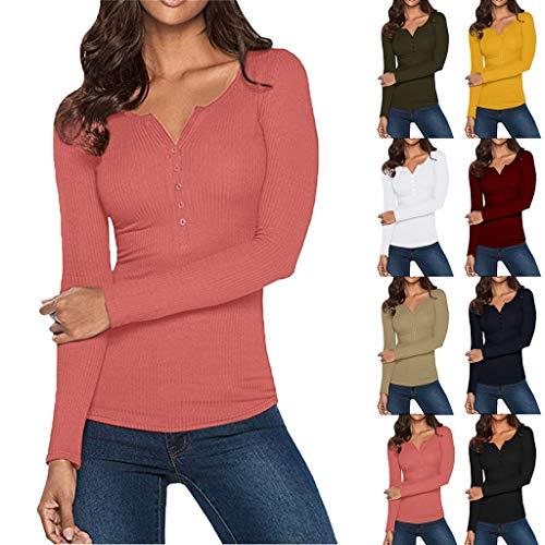 Henley Shirt FüR Frauen – Frauen Herbst Winter LäSsig Langarm V Neck TES Damen Elegante Button Up Basic Tops T-Shirt