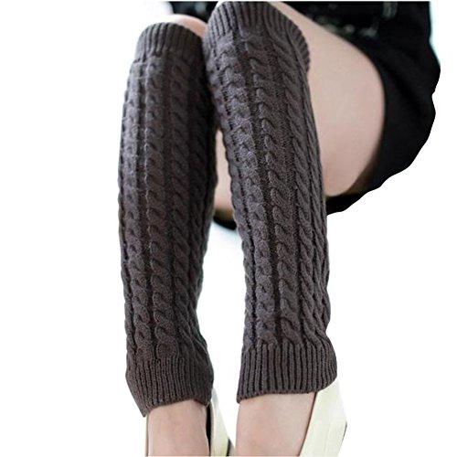 Topper Pad (Ericotry Knit Winter Warm Beinstulpen Lange Socken Stiefel Manschetten Topper Legging Pads Kniebandage Pads Kniewärmer Ärmel für Damen Mädchen, dunkelgrau, One Size)