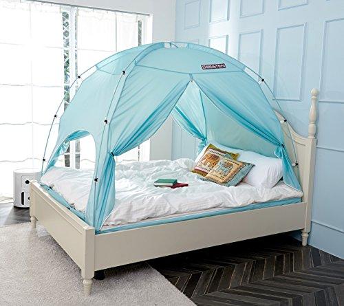 Besten Floorless in-Sichtschutz Zelt auf Bett für warmen und gemütlichen drafty Schlafen Zimmer Full/Queen Blue (Frozen Schlafzimmer Ideen)