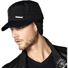 Kenmont para hombre cálido de nieve Negro de perro con sombrero orejeras Diseño militar de pareja de gorra de Baseball con funda impermeable para