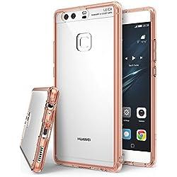 Ringke Coque Huawei P9 Plus, [Fusion] Bumper en TPU avec Dos Crystal Transparent [Protection Contre Les Chutes/Technologie d'absorption des Chocs] Étui de Protection - Rose Gold Crystal