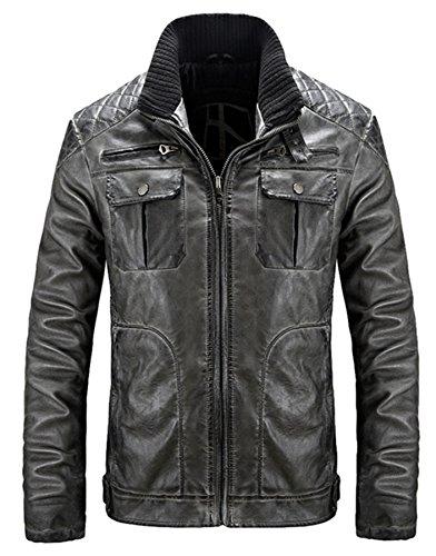 PLAER Hommes cuir Loisir cuir PU cuir Hommes Cuir veste Moto cuir Noir