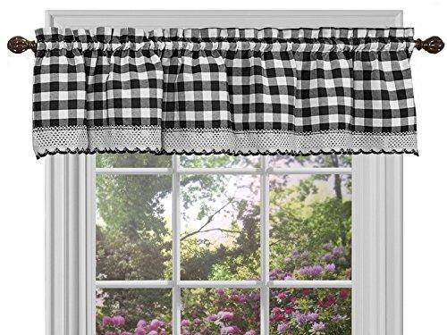 Sweet Home Collection Küche Vorhang Querbehang, Schwarz/Weiß, 35,6x 147,3cm (Küche Vorhänge Land)