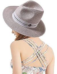 DORRISO Cappello Paglia Panama Cappello Da Sole Cappello Da Spiaggia Donne  Uomo Cappelli Di Paglia Grigio c3288c8e8fff