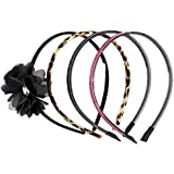 4 On A Card Headband Set With Chiffon Flower, Leopard Print, Glitter, And Metallic Pu Pink Combo No Sz