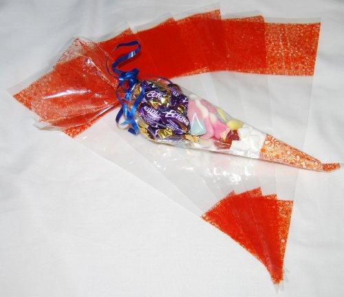Transparent-10Stück Party Zellophan, mit gratis Twist Bindungen-45Mikron-36,8x 17,8cm Orange
