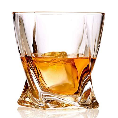 Hiyougen Crystal Whiskey Glass 6er-Set - Premium Bleifreie Kristallgläser - Twist Tasting Tumbler zum Trinken von großen 10 Unzen - Whiskey-Geschenkbox-Set für Scotch oder Bourbon