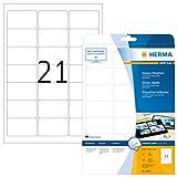 Herma 4904 Glossy Etiketten glänzend (63,5 x 38,1 mm auf DIN A4 Laser-Glossy-Papier) 525 Stück auf 25 Blatt, weiß, bedruckbar, selbstklebend