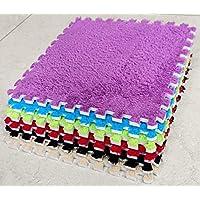 BuyElegant 10pcs Plush Fabric Carpet Area Rug Room Floor Mats Puzzle Mat Soft EVA Foam Carpet Door Mat Ground Mat (Purple)