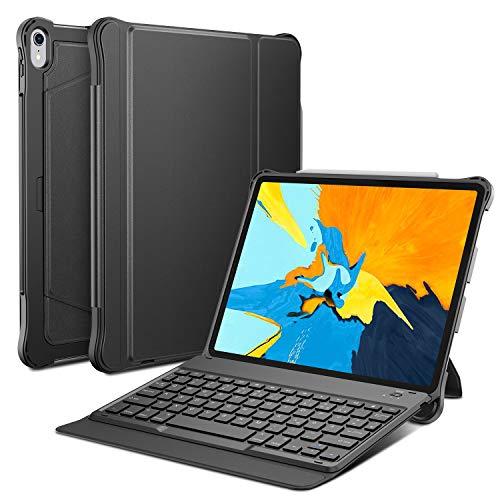OMOTON abnehmbare Bluetooth Tastatur Hülle kompatibel für iPad Pro 11 2018, deutsches Layout QWERTZ Wireless Keyboard Case Cover, Leder Hülle mit Stift-Halterung, Auto Schlaf/Aufwach Funktion, schwarz