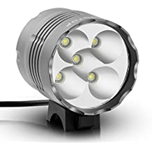 KINGTOP Faro Delantero Foco Linterna Recargable 5000LM 5x LED CREE XM-L T6 para Bici Bicicleta MTB con Pack de Batería Recargable