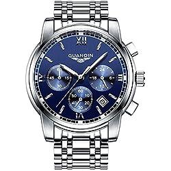 Luxury GUANQIN hombre wristorologio Fashion Cronógrafo Reloj Waterproof Full Steel cuarzo reloj gs19018