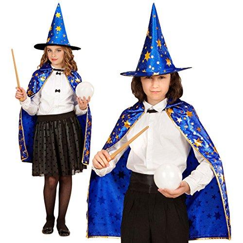 Zauberer Kostüm Set Kinder Magier Umhang mit Hut Hexer Kinderkostüm Zauberin (Kostüme Kind Hexer)