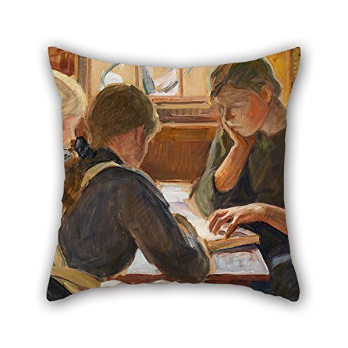 beautifulseason 18 X 18 Inches/45 by 45 cm Oil Painting Halonen, Pekka - Children Reading Pillowcase,Twin Sides Ornament and Gift to Christmas,Bench,Divan,Monther,Club,Deck Chair -