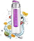 ezzyfitness 700ML Tapa Botella Fruta Infusing Infusor Botella de Agua Libre de BPA Botella de Deporte, Morado