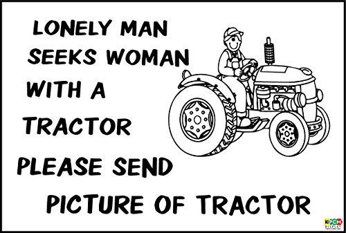 Traktor-display (Witziges Schild Lonely Man sucht Frau mit Traktor Geschenk Farm, Baumeister-Sticker Selbstklebend 200mm x 150mm)