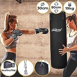 Physionics Boxsack Set - mit Boxhandschuhen, für Erwachsene, Gefüllt, Ø30cm, H80cm, Gewicht 19kg - Box Komplett, Kickboxen, MMA, Taekwando, Kampfsport, Fitness, Sport, Muay Thai, Punching Bag