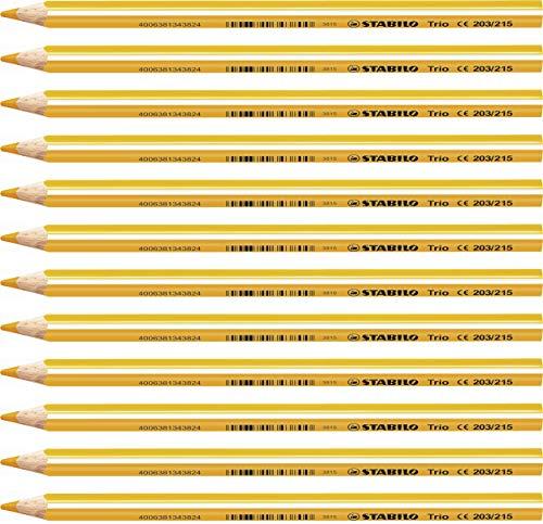 Lápiz de color triangular grueso STABILO Trio thick - Caja con 12 unidades - Color amarillo oscuro