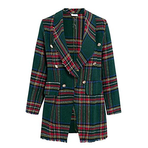 WHBDFY Marke Frauen Mode Tweed Plaid Blazer Herbst Winter Weibliche High Street Long Sleeves Jacken Business Chic Mäntel M Grün -