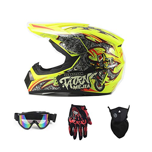 Motorradhelm, Outdoor-Dirt-Fahrradhelme, Fullface-Motocross-Offroad-Helm Four Seasons Universal (Handschuhe, Brille, Maske, 4-teiliger Satz),Yellowclown,L