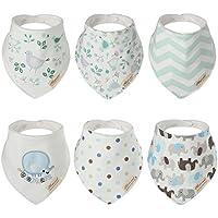 Discoball 6 pezzi Hosee-Bavaglini a Bandana 100% cotone di Saliva Grembiule Pinny Dribble-Panno per ruttino neonato