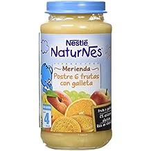 NESTLÉ Purés Merienda, tarrito de puré de fruta y galleta sin gluten, variedad Postre