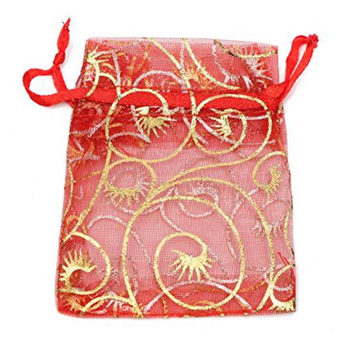 Bluelover 100Pcs Organza Gift Pouch Schmuck Gift Candy Bag Packing Drawable Wedding Party Geschenkbeutel - Rot