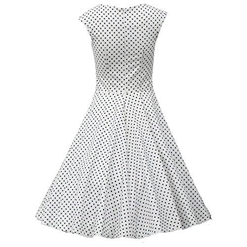 REPHYLLIS - Robe - Cocktail - Sans Manche - Femme - Weiß Punkte