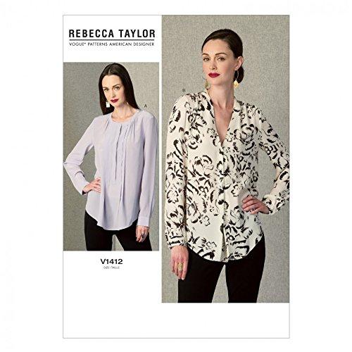 Ärmel Plissee Bluse (Vogue Damen Schnittmuster 1412Plissee Ärmel und Knopf Manchette Blusen + Gratis Minerva Crafts Craft Guide)